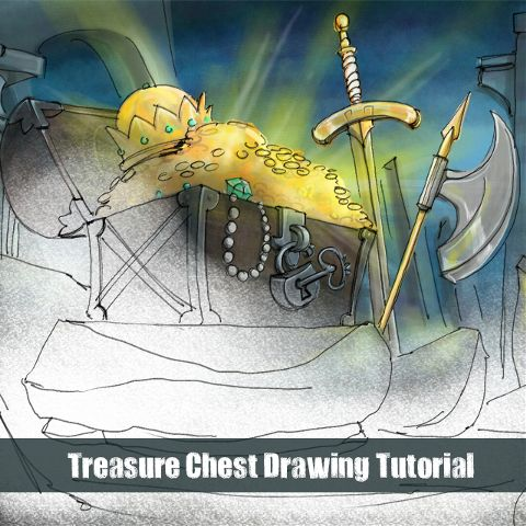 how to draw a treasure chest step by step