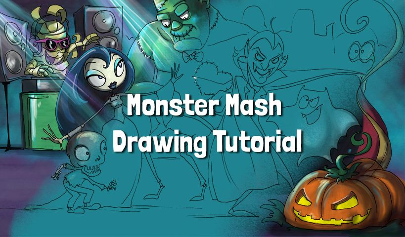 how to draw monster mash step by step