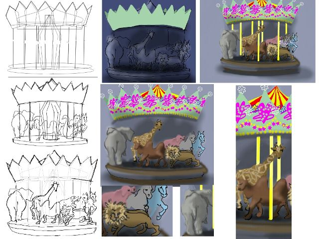 how to draw a carousel step by step