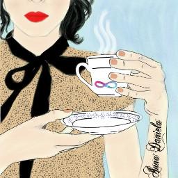 drawing people food coffee