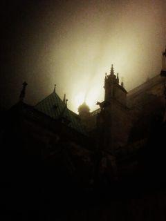 winter light night scary fog