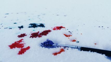 snow paint colorful spring winter